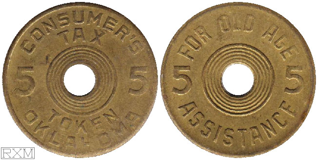 Tax Token Oklahoma Brass Old Age Five